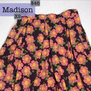 XS LuLaRoe Madison Skirt with Pockets! NWT floral